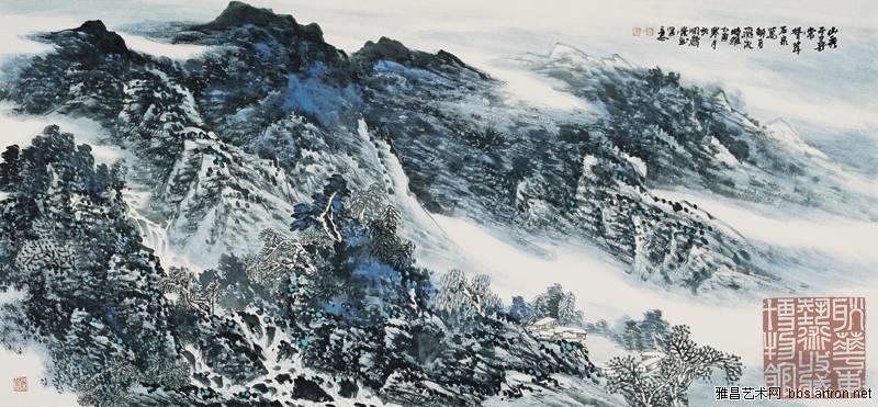 白雪石擅画山水,无论是黄山,泰山及桂林风景,都在他笔下洋溢着灵性及